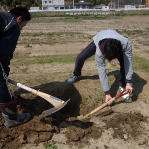 ひまわりハウスの池田さんが穴掘りを手伝って下さいました.